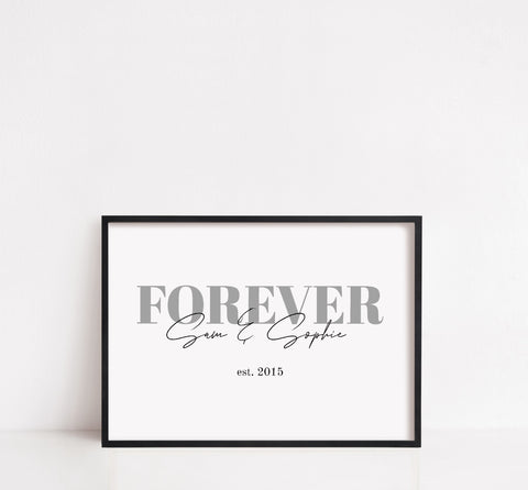 Couples Print | Forever Custom Print | Personalised Print | Anniversary Print | Valentines Day Print | Wedding Print