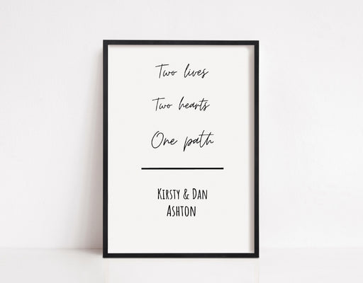 Couples Print | Two Lives, Two Hearts, One Path | Personalised Print | Anniversary Print | Valentines Day Print | Wedding Print