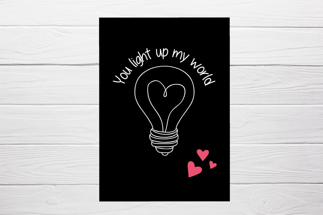 Valentines Card | You Light Up My World | Funny Valentine's Card | Cute Card