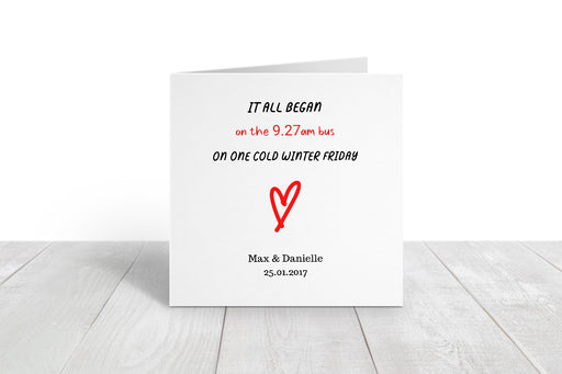 Valentines Card | It All Began | Personalised Location Card | Cute Card
