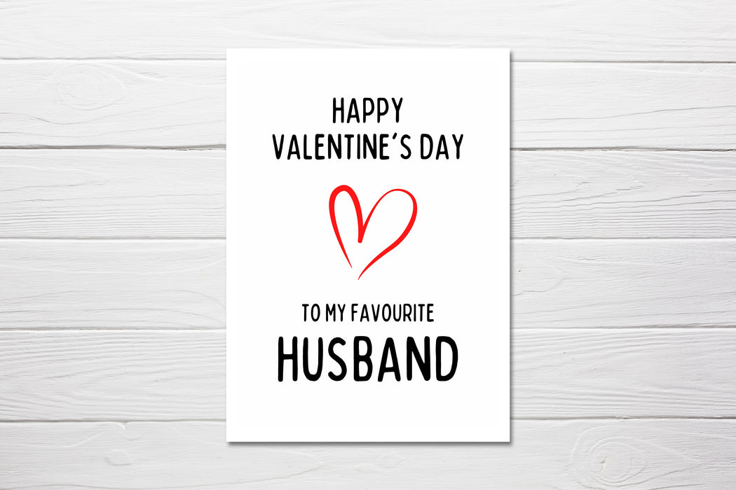 Valentines Card | Happy Valentine's Day To My Favourite Husband | Funny Valentines Card | Rude Valentines Card