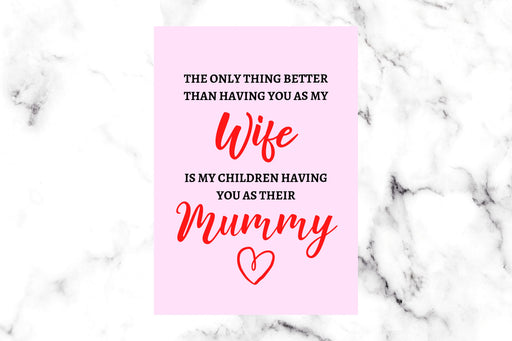 Mothers Day Card | Wife Mummy Card | Cute Card | Happy Mother's Day