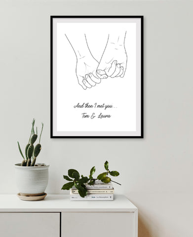 Couples Print | And Then I Met You | Personalised Print | Wedding Print | Anniversary Print | Valentines Day Print