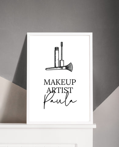 Personalised Salon Makeup Brushes Print | Job Role | Makeup Artist | Makeup Print | Makeup Studio Print