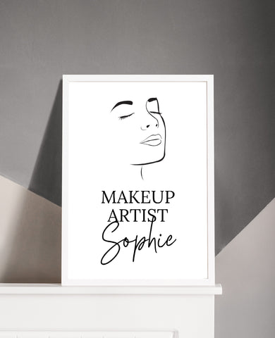 Personalised Salon Face Print | Job Role | Makeup Artist | Makeup Print | Makeup Studio Print