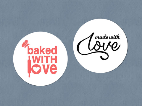 Business Stickers | Sticker Sheet | Made With Love Stickers | Baked With Love Stickers