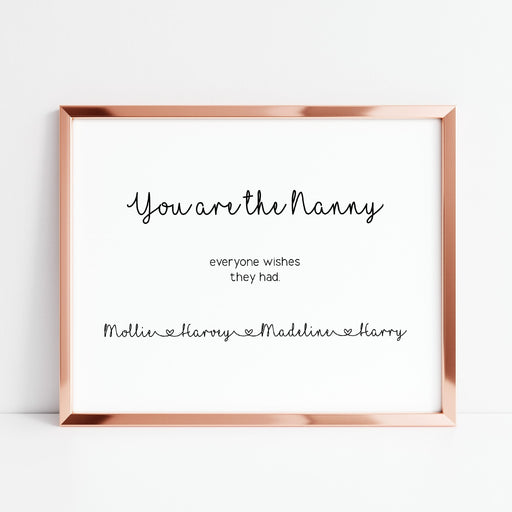 Family Print | Nanny Print | You Are The Nanny Everyone Wishes They Had | Grandchildren Print | Personalised Print