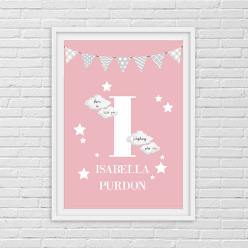 Nursery Print | Personalised Pink Initial/Name | Children's Print | Kids Print | Baby Gift
