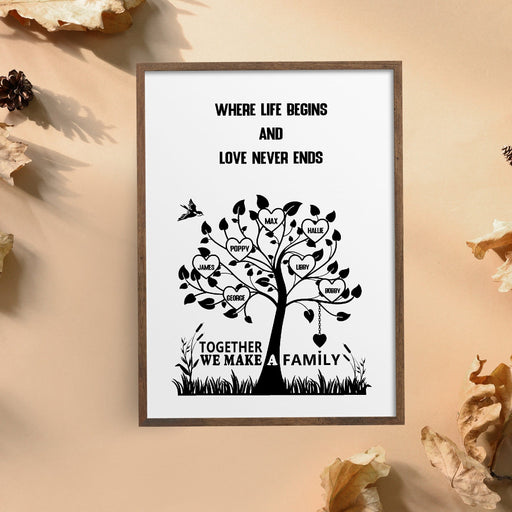 Family Print | Where Life Begins & Love Never Ends | Family Tree Print
