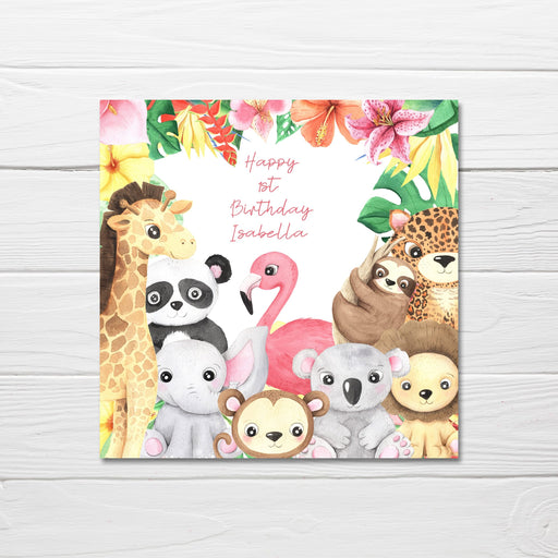 Animal Birthday Card Design | Personalised Tropical Animal Birthday Card | Children's Birthday Card