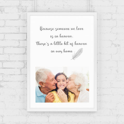 Memory Print I Because Someone We Love Is In Heaven There's A Little Bit Of Heaven In Our Home| Heaven Print | Personalised Memory Print