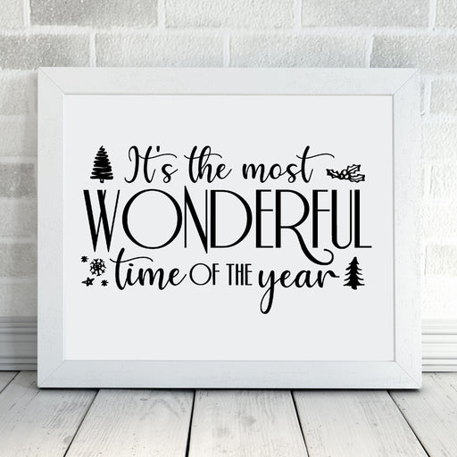 Christmas Print | It's The Most Wonderful Time Of The Year | Christmas Décor | Quote Print