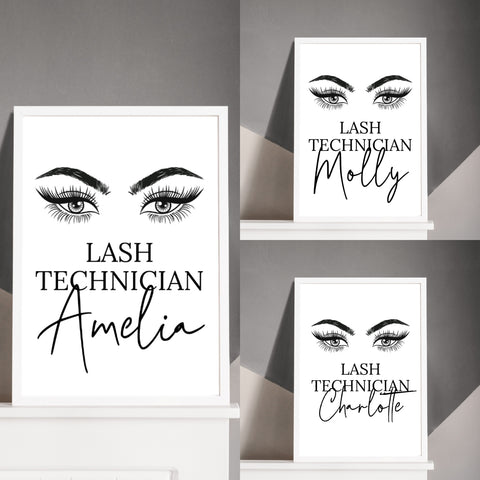 Salon Print | Personalised Lash Technician | Eyelash Print
