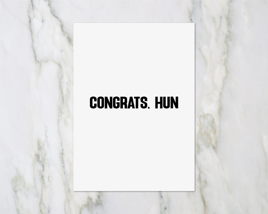 Congratulations Card | Congrats Hun | Wedding Card | New Baby Card | Passed Driving Test | New Home Owner