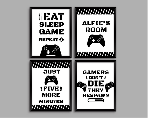 Personalised Gaming Prints | Set of 4 | Gaming Gift