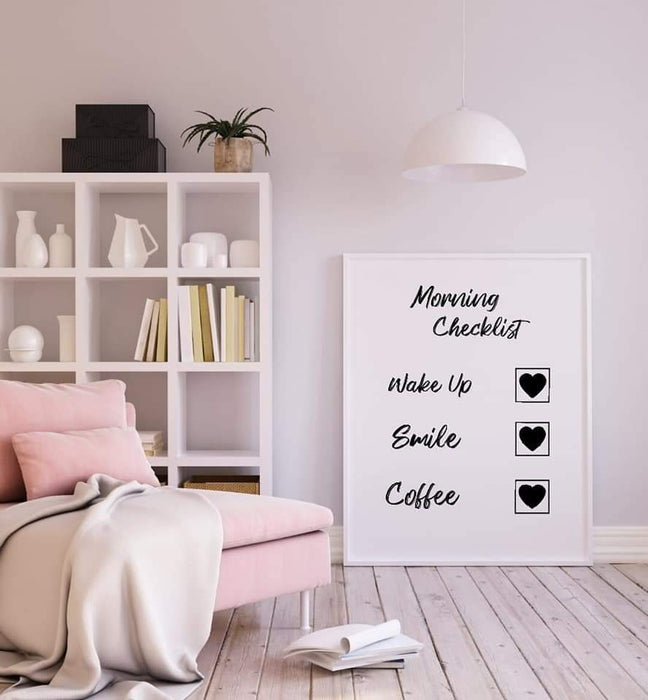 Bedroom Print | Morning Checklist | Quote Print
