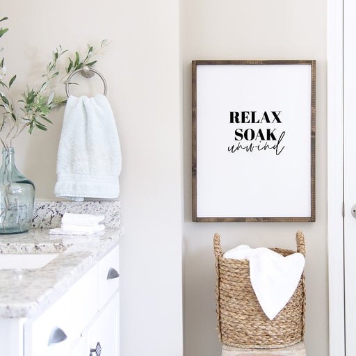 Bathroom Print | Relax, Soak, Unwind | Quote Print | Bathroom Decor
