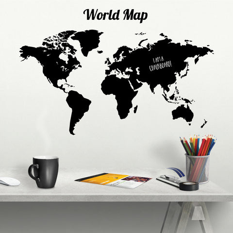 Chalkboard World Map Chalkboard Wall Sticker