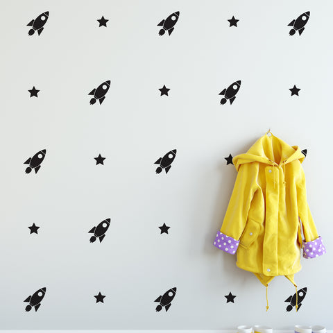 Rocket & Stars Wall Pattern Decal - Set of 28