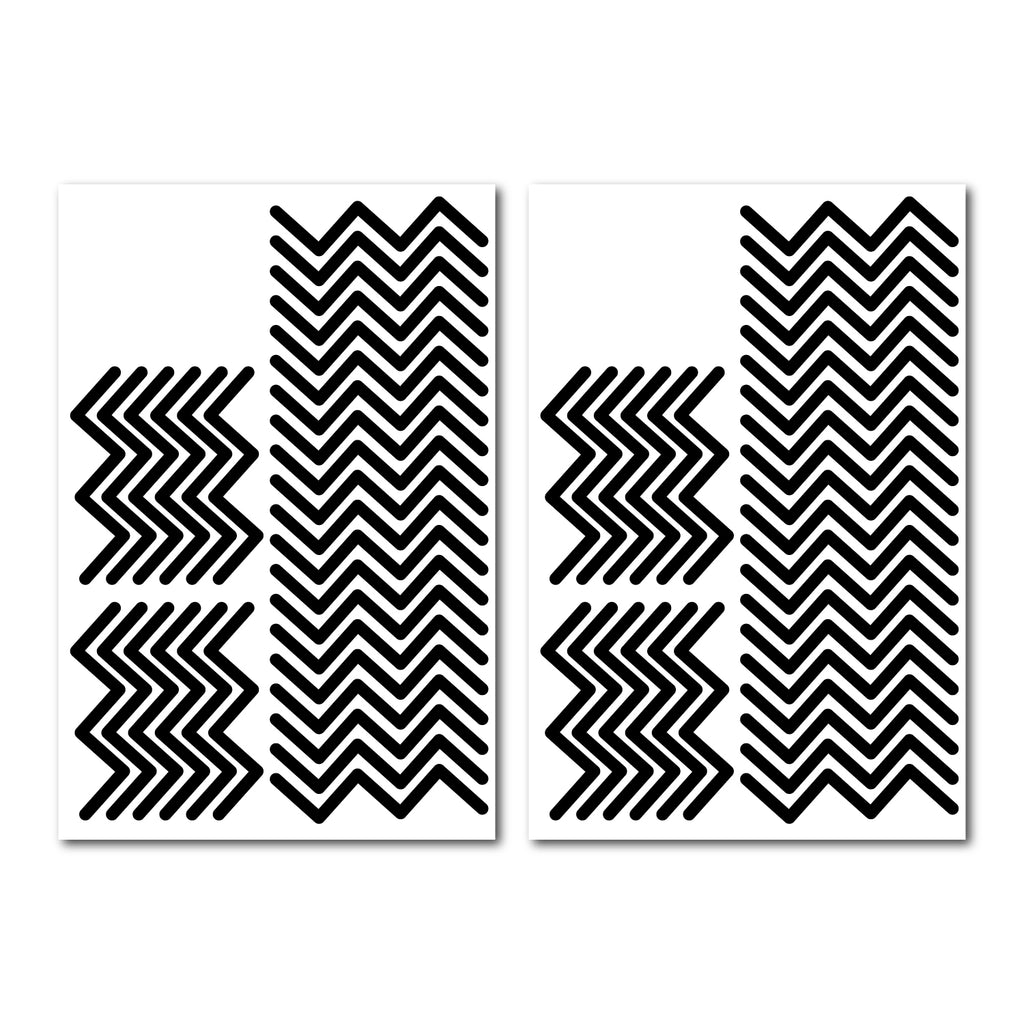 Zigzag Wall Pattern Decal - Set of 64