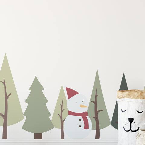 Pine Trees Winter Set Wall Sticker
