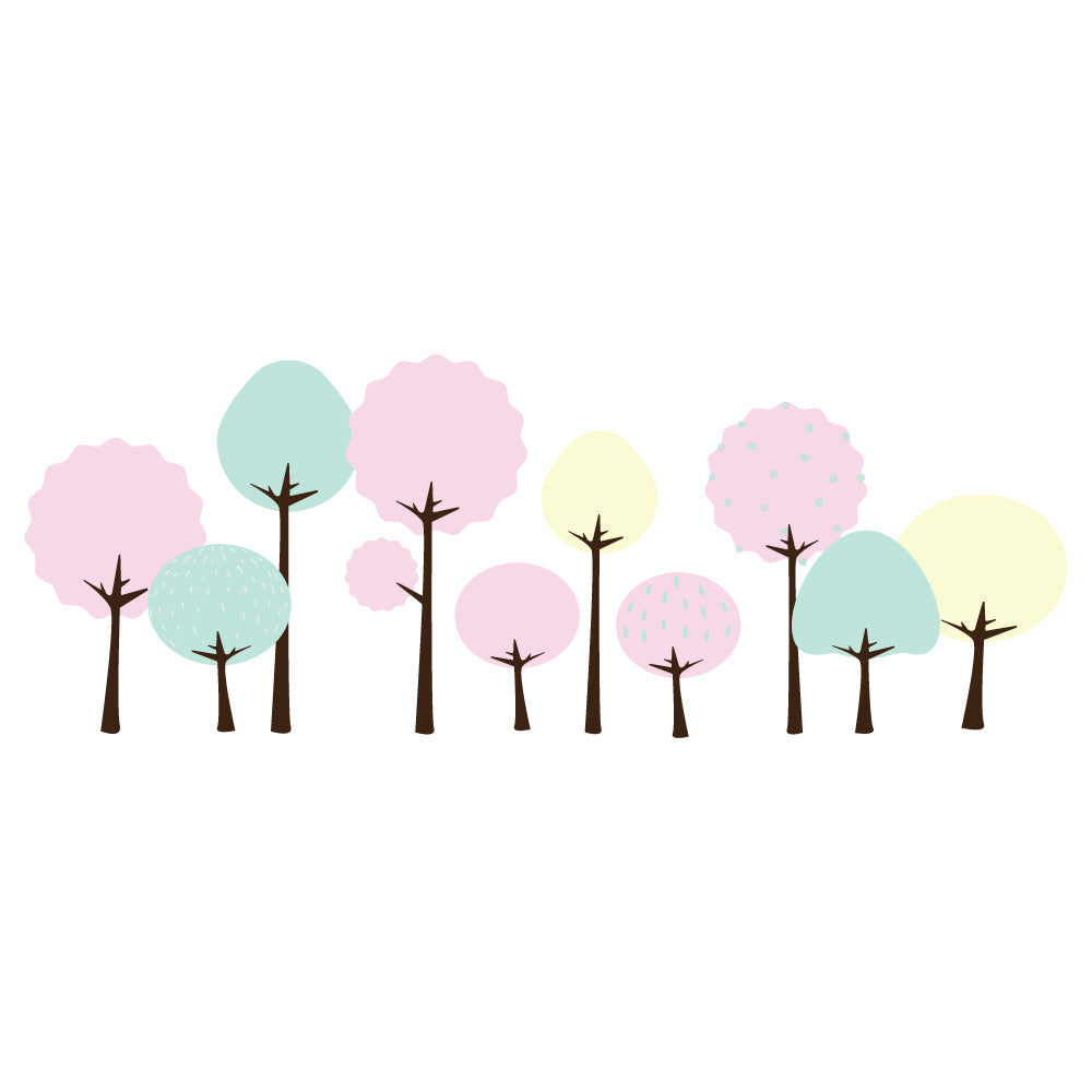 Pastel Trees Set Wall Sticker