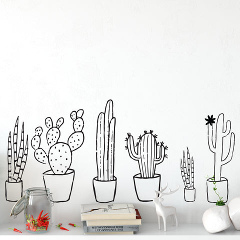 Cactus Black & White Set Wall Sticker