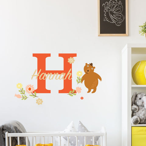 Bear Flowers Custom Kids Wall Sticker