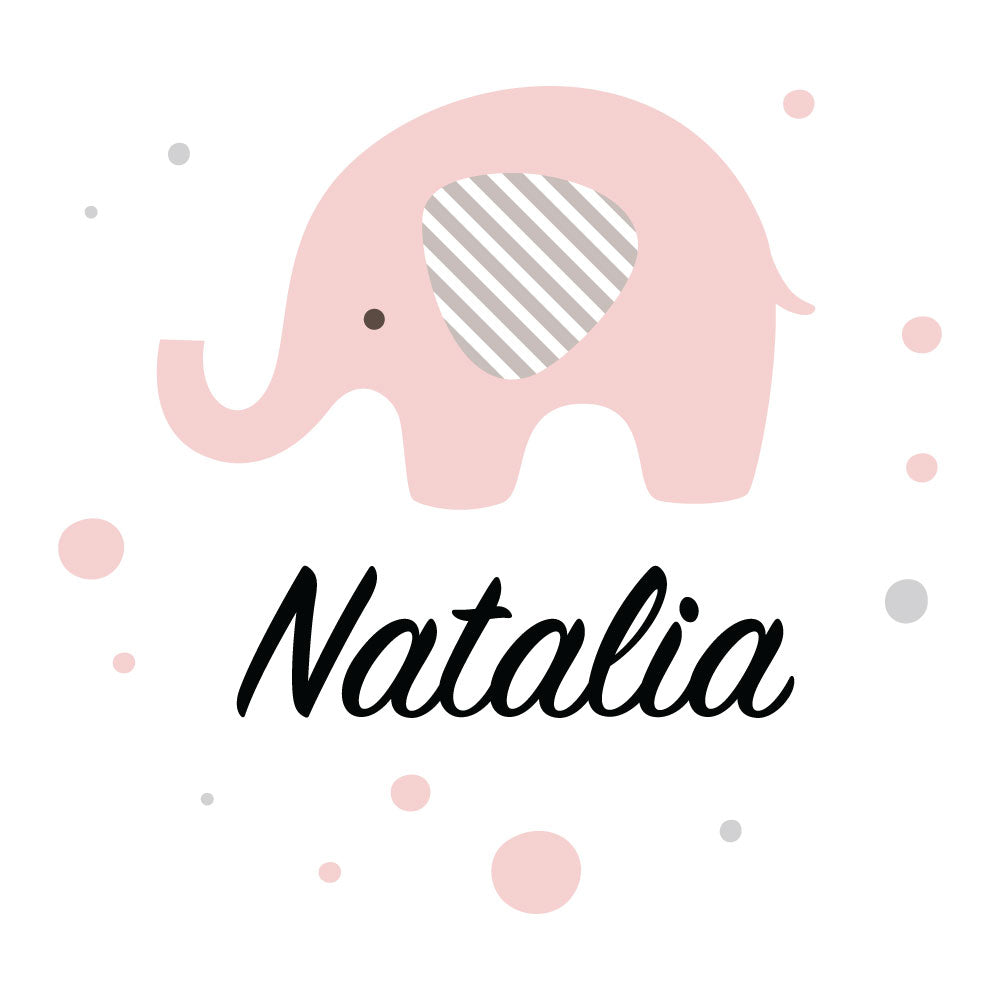 Elephant Pink Custom Kids Wall Sticker