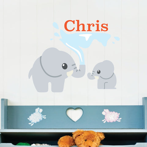 Elephant Water Custom Kids Wall Sticker