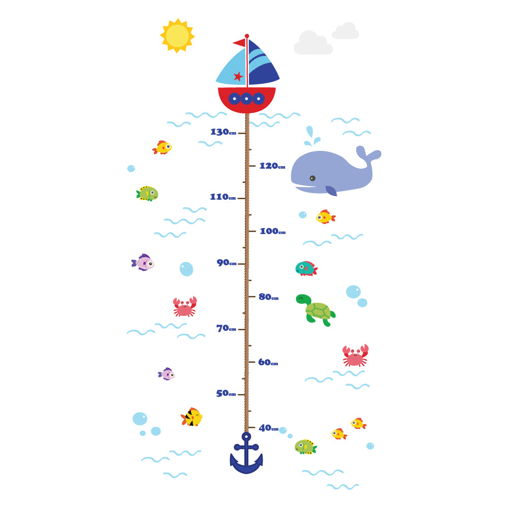 Underwater Creatures Height Chart Wall Sticker