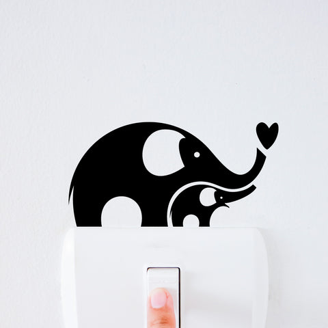 Elephant Family Light Switch Decal Sticker