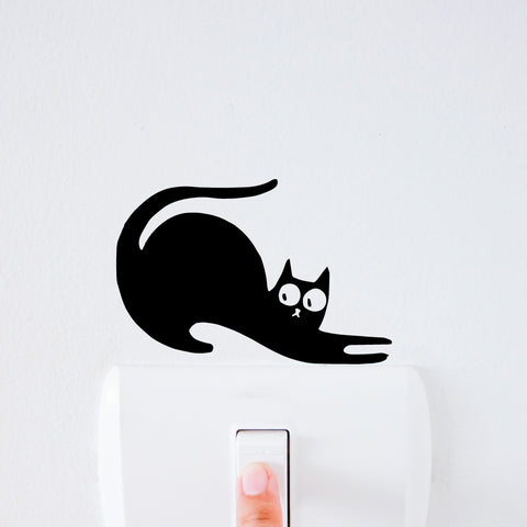 Cat Stretching Light Switch Decal Sticker