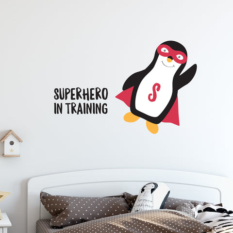 Superhero In Training Penguin Wall Sticker