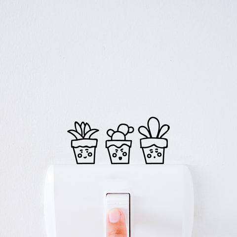 Garden Pots Light Switch Decal Sticker
