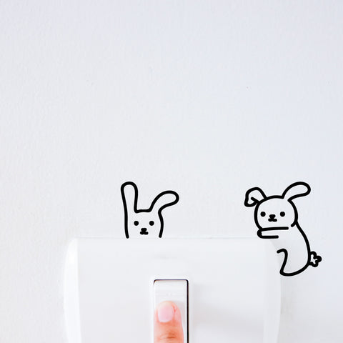 Rabbit Friends Light Switch Decal Sticker