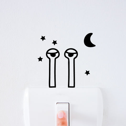 Sleepy Snail Light Switch Decal Sticker