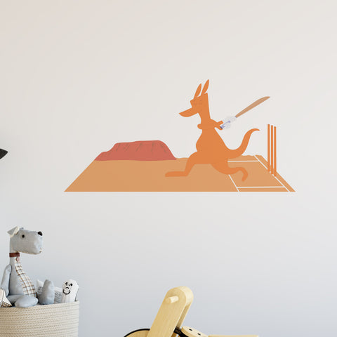 Kangaroo Playing Cricket Wall Sticker