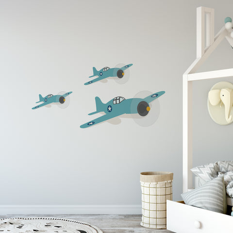 Vintage Plane Nursery Set Wall Sticker