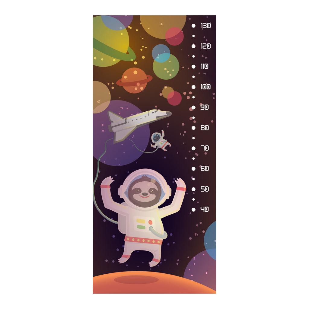 Sloth Astronaut Height Chart Wall Sticker