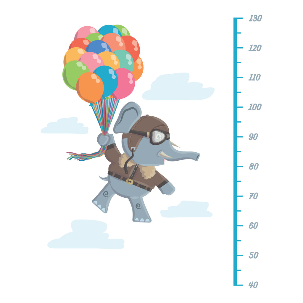 Flying Elephant Height Chart Wall Sticker