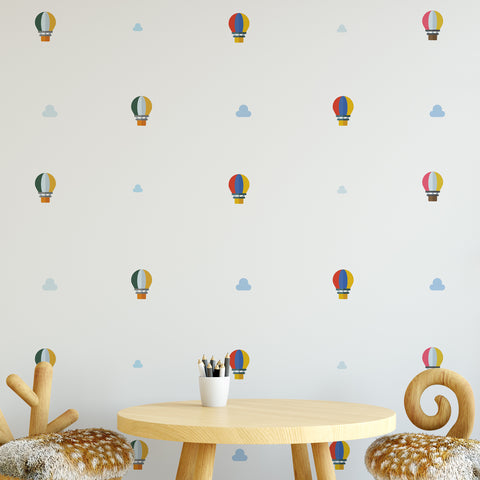 Hot Air Balloon & Clouds Pattern Decal - Set of 36