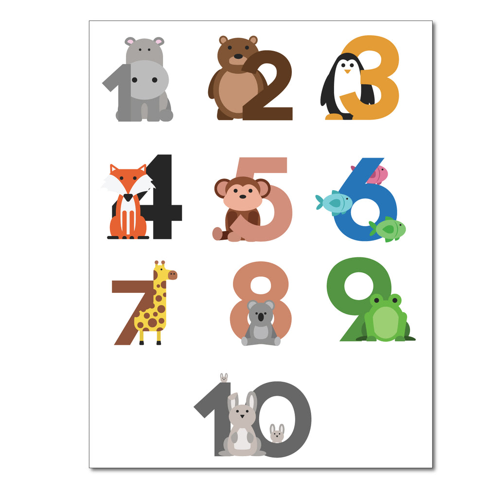 Numbers Animal Series Wall Sticker