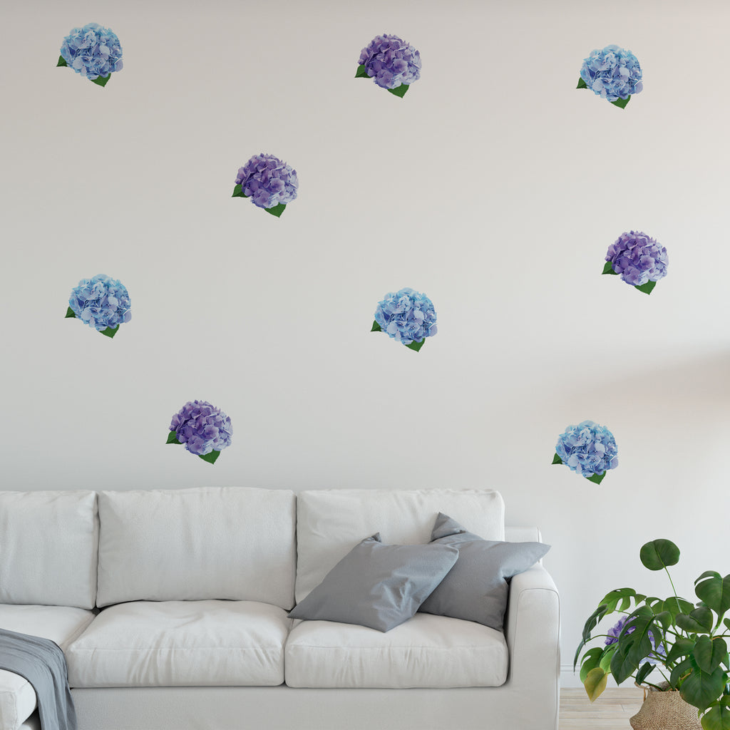 Mini Violet Hydrangea Set Floral Wall Sticker