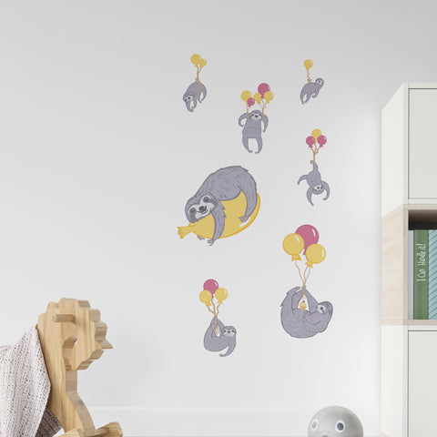 Sloth Air Balloon Wall Sticker