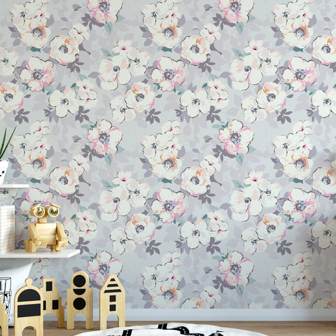Grey Watercolour Floral Wallpaper Sample