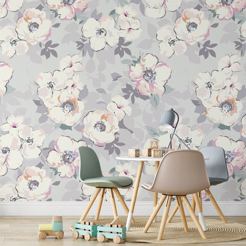 Grey Watercolour Floral Wallpaper