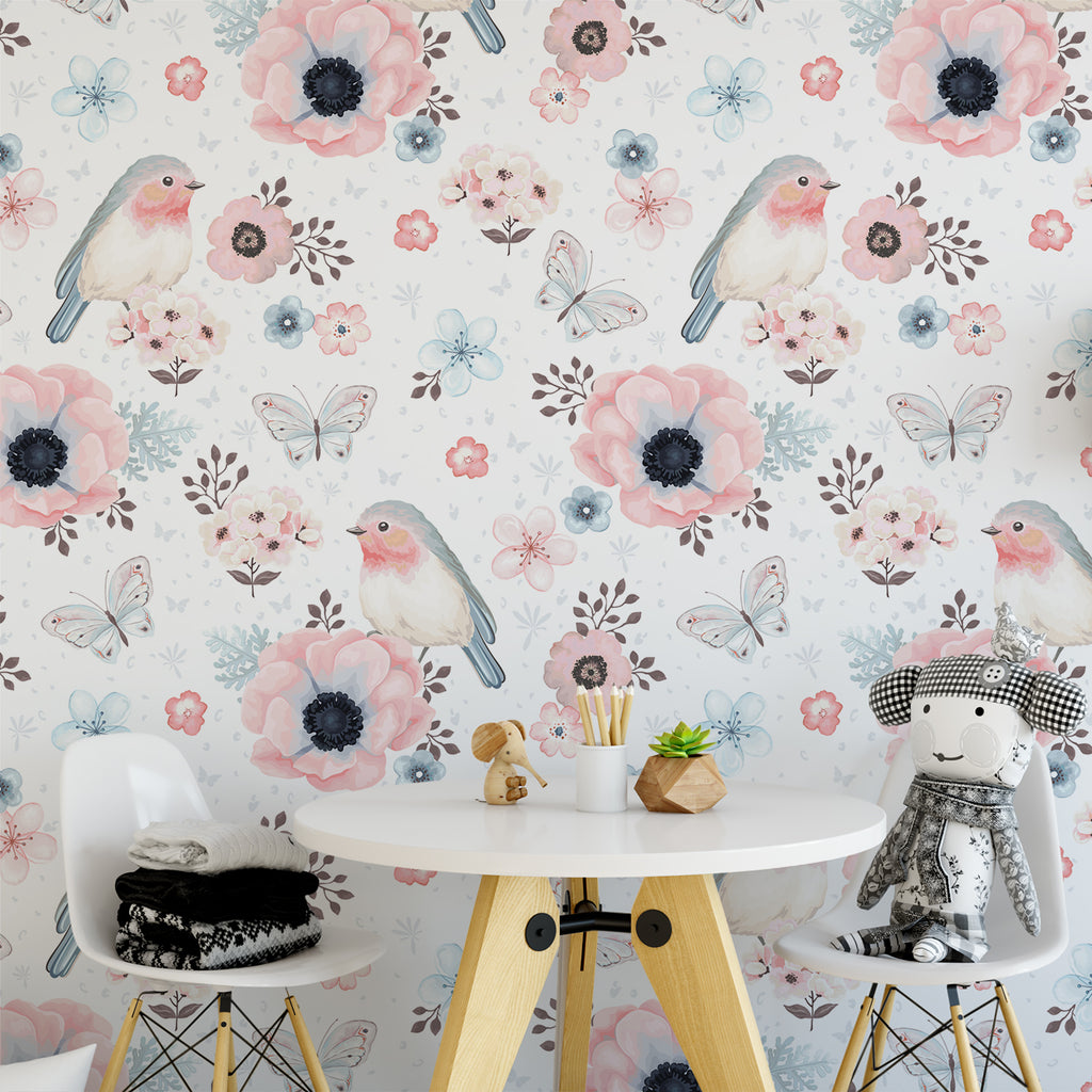 Watercolour Birds & Flowers Wallpaper