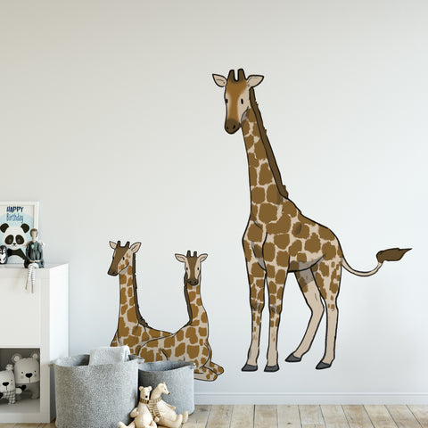 Giraffe Family Safari Collection Wall Sticker