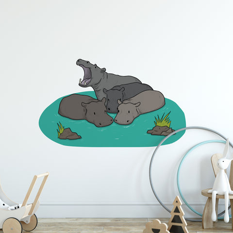 Hippo Watering Hole Safari Collection Wall Sticker